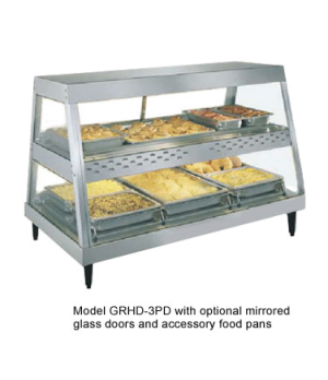 Glo-Ray® Heated Display Case, countertop, see-thru design, (3) pan dual shelf, 1