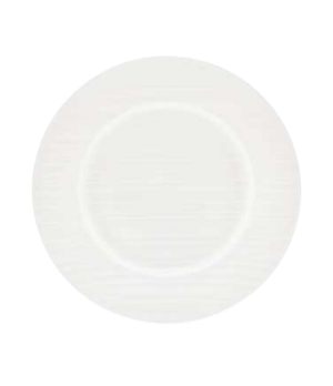 "(8288) Fusion Plate, 8-5/8"" dia. (22.0 cm), wide rim, embossed, bone china, micr"
