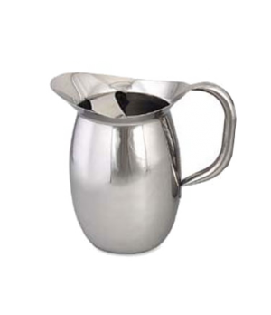 "Pitcher, 100 oz., 9""H, bell shaped, with guard, tubular handle, stainless steel,"
