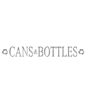 """Silhouette Recycling Decal, """"CANS and BOTTLES"""", dark, 19""""W x 4-3/4""""H"""