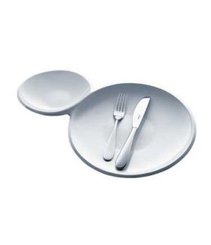 "Plate, two in one, 18-1/2"" x 11-3/8"", premium porcelain, Flow"