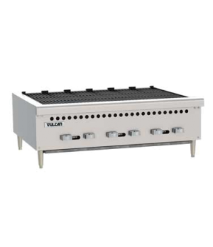 "Charbroiler, 87,000 BTU, 36""W, countertop, (6) 14,500 BTU cast iron burners with"