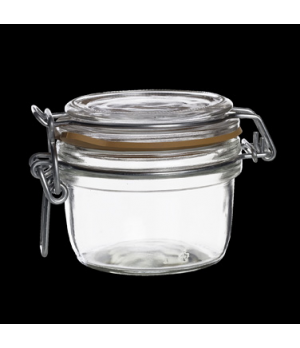 Jar, 6 oz., clear, orange gasket, Bormioli, Fido (priced per case, packed 6 per