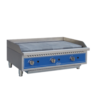 "Charbroiler, gas, radiant, countertop, 36"" wide, heavy-duty reversible cast-iron"