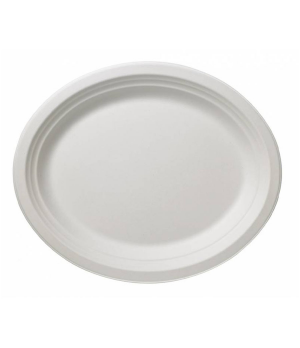 """Disposable Plate, 12-5/8"""" x 9-6/7"""" (32 x 25 cm), oval, biodegradable/compostable"""