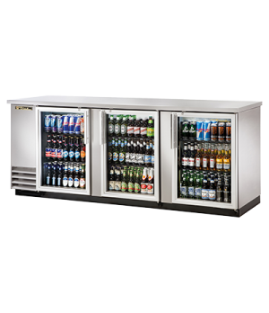 "Back Bar Cooler, three-section, 37"" high, (152) 6-packs or (4) keg capacity, (6)"