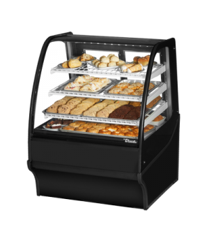 "Display Merchandiser, Non-Refrigerated (Dry), 36-1/4""L, curved glass front, glas"
