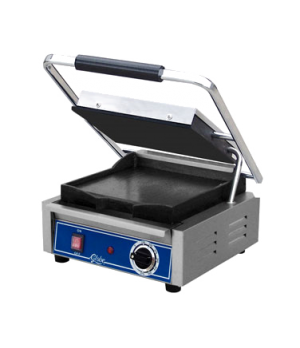 Bistro Panini Grill, single, countertop, electric, seasoned cast iron smooth pla