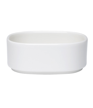 "Bowl, 6-3/4 oz., 4""L x 3-1/4""W, oval, stackable, white, premium porcelain, Unive"