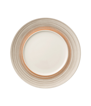 "Plate, 11-3/8"" dia. (7-1/8"" well), round, flat, premium porcelain, Amarah Taupe"