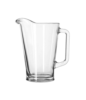 "Beer Pitcher, 37 oz., glass, (H 7-3/4""; T 4-7/8""; B 3-1/2""; D 6-5/8"") (6 each pe"