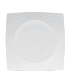 "Ethereal Plate, 9"", square, dishwasher safe, bone china, white"