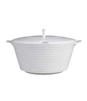 Intaglio Vegetable Dish, with lid, dishwasher safe, bone china, white (priced pe