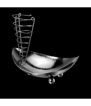 "Bread Bowl, with rack, 11-1/4"" x 7-5/8"" x 9-5/8"", 18/10 stainless steel, WNK Acc"