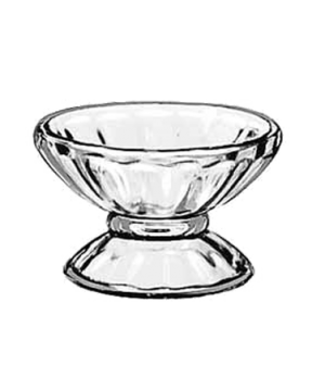 "Sherbet Dish, 3-1/2 oz., glass, (H 2-1/4""; T 3-3/4""; B 2-3/4""; D 3-3/4"")"