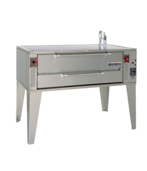 "Pizza Oven, deck-type, gas, single 63"" wide with 48"" bake deck, 1-1/2"" thick Pyr"