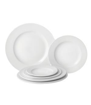 "Plate, 9"" dia. (23 cm), round, wide rim, microwave & dishwasher safe, Pure White"