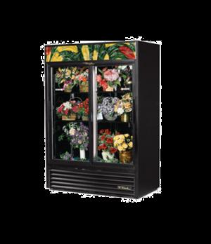 Floral Merchandiser, two-section, (4) adjustable black PVC coated shelves, black