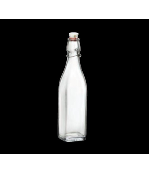 Bottle, 17 oz., swing top, tempered, glass, Bormioli (USA stock item) (minimum =