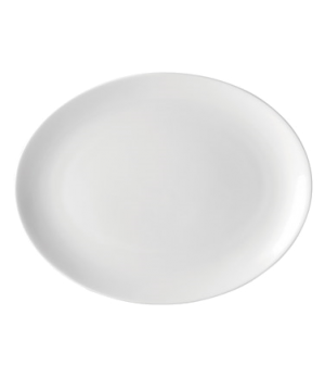 "Plate, 10"" dia. (25 cm), oval, coupe, rolled edge, flat, microwave & dishwasher"