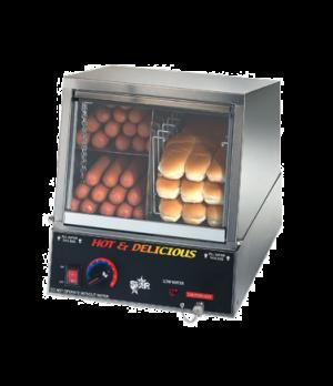 Hot Dog Steamer with Juice Tray, side-by-side hot dog steamer/bun warmer, capaci