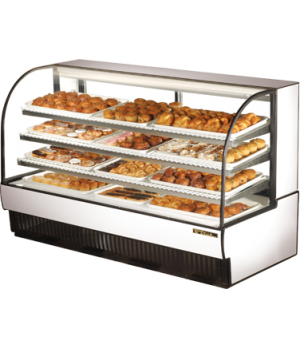 "Curved Glass Non-Refrigerated (Dry) Bakery Case, 77-7/8""L, glass ends, H.D. viny"