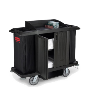 Housekeeping Cart, with doors and vinyl bag, black