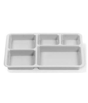 "Tray-on-Tray Meal Delivery, 5-compartments, 14-3/8""L x 10-9/16""W x 1-1/4""D, co-p"