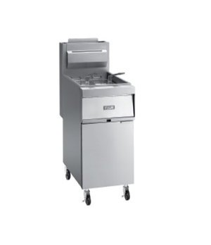 "Fryer, Gas, 15-1/2""W, free-standing, 120,000 BTU, stainless steel cabinet and 14"