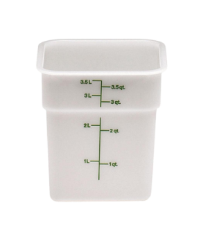 CamSquare® Food Container, 4 quart, 7-1/4 x 7-1/4 x 7-3/8, natural white, green