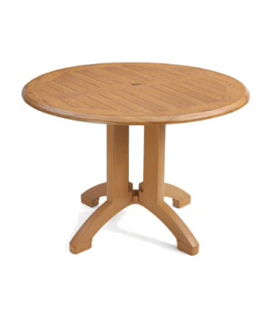 "Winston Table, 42"" round, molded melamine with balcony pedestal base, umbrella h"