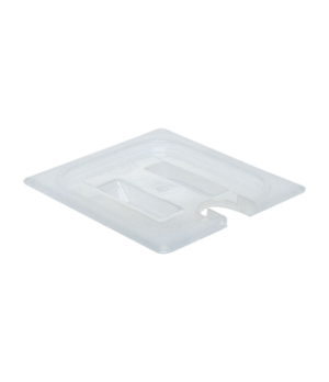 Food Pan Cover, 1/6 size, notched, with handle, translucent polypropylene, NSF