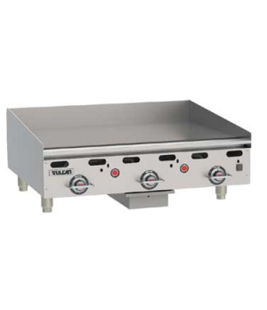 "Heavy Duty Gas Griddle, 81,000 BTU, 36""W x 30""D x 1"" thick polished steel griddl"