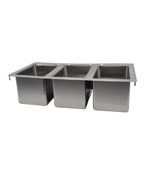 "(39783) Drop-In Sink, three compartment, 10"" wide x 14"" front-to-back x 10"" deep"