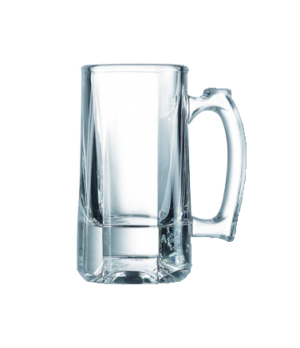 "Mug, 10 oz., glass, Arcoroc, Barware (H 5-7/8""; T 2-7/8""; B 3-1/4"")"
