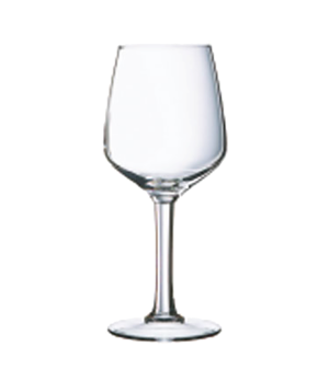 "Wine Glass, 10-1/4 oz., glass, Arcoroc, Lineal, (H 7-3/4""; M 3-1/8"")"