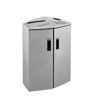 Element Paper/Trash Recycling Container, 2 stream, 24 gallons, non-locking retai