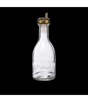 "Oil Bottle, 17 oz., 9-1/8""H, clear. with metal lid, Bormioli, Quattro (priced pe"