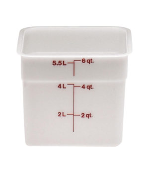 "CamSquare® Food Container, 6 quart, 8-3/8"" x 8-3/8"" x 7-1/4"", natural white, ora"