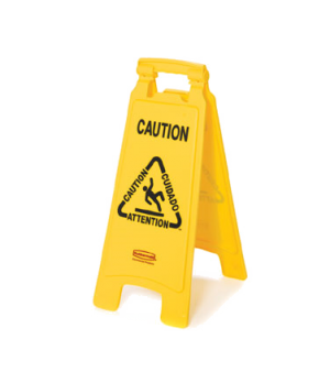"Floor Sign, multi-lingual, ""caution"", 2-sided, 26-1/2"" x 11"" x 1-1/2"", 25"" open,"