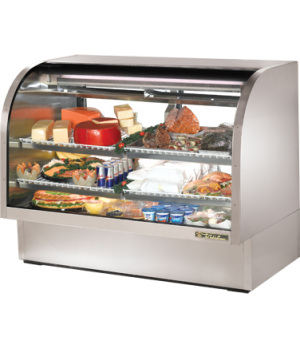 "Curved Glass Deli Case, 60-1/4""L, service type, self-contained refrigeration, gr"