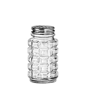 "Salt/Pepper Shaker, 2 oz., glass with aluminum top, (H 3-1/8""; T 1-1/4""; B 1-1/2"