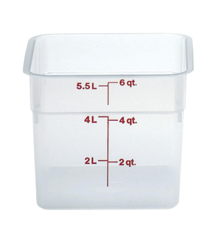 "CamSquare® Food Container, 6 quart, 8-3/8"" x 8-3/8"" x 7-1/4"", translucent, orang"