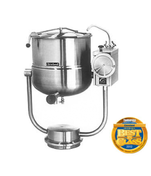 Kettle, Direct Steam, Tilting, 60-gallon capacity, 2/3 steam jacket design, pede