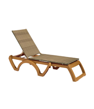 Java Chaise, stackable, without arms, adjustable, all weather wicker, teakwood f