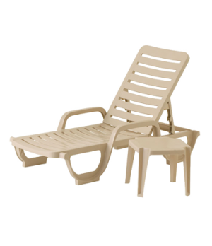 Bahia Stacking Chaise, adjustable, resin, RTA backrest, sandstone