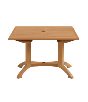 "Winston Table, 48"" x 32"" rectangle, molded melamine with pedestal balcony base,"