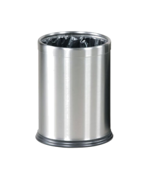 "Steel Wastebasket, 3-1/2 gallon, 9-1/2"" dia. x 12-1/2"" H, open top, stainless st"