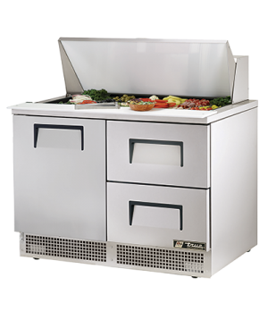 "Sandwich/Salad Unit, two section, self-contained, (18) 1/6 size (4""D) poly pans,"