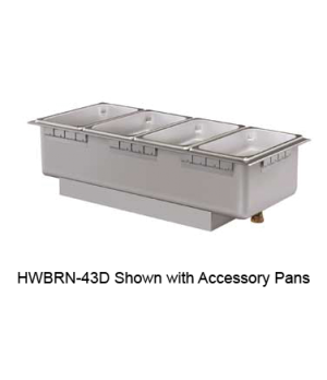 Built-In Heated Well, rectangular, non-insulated, top mounted, holds (4) 1/3 siz